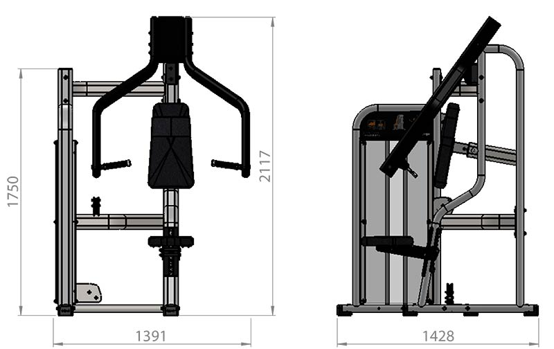 Selectorized Incline Chest Press Product Dimensions