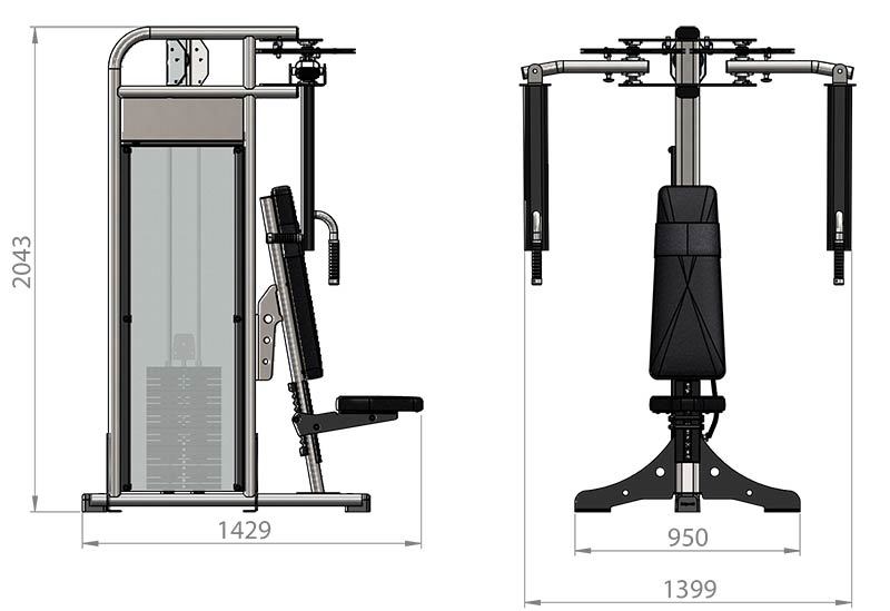 Selectorized Pec Fly Rear Deltoid Product Dimensions