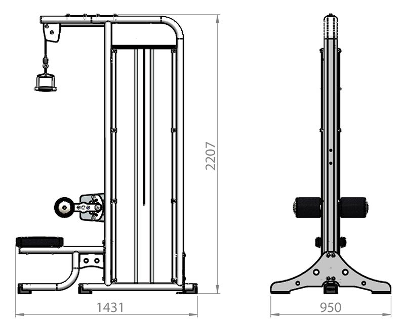 Selectorized Lateral Pulldown Product Dimensions
