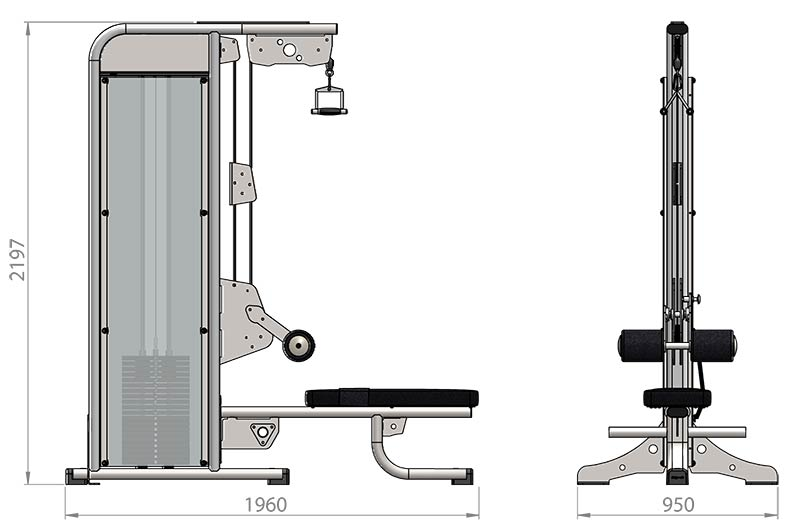 Selectorized Lateral Pulldown Low Row Product Dimensions