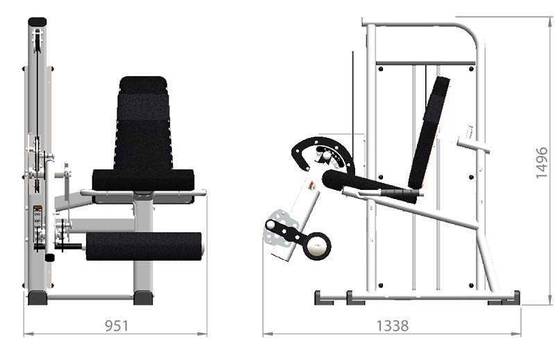 Selectorized Leg Extension Product Dimensions