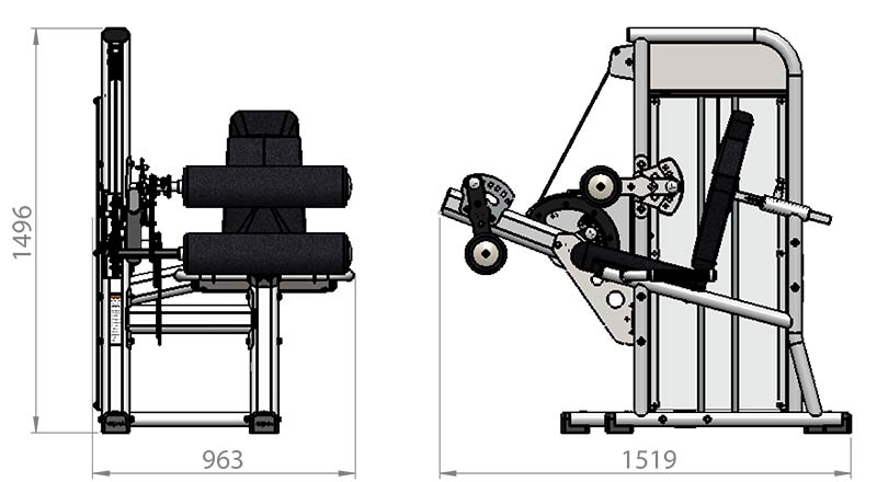 Selectorized Seated Leg Curl Product Dimensions