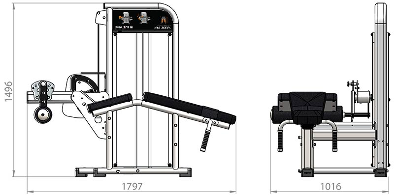 Selectorized Lying Leg Curl Product Dimensions