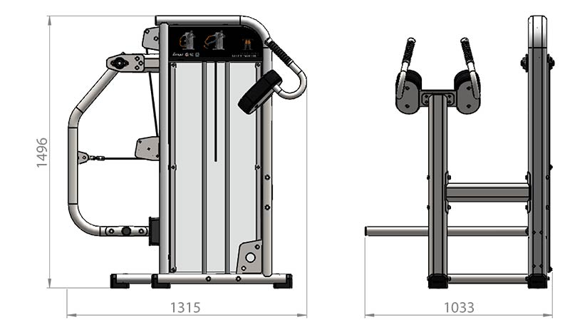 Selectorized Glute Machine Product Dimensions
