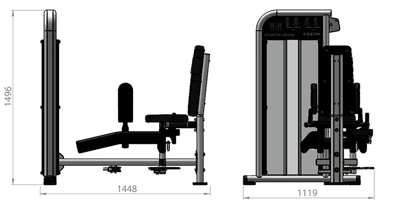 Selectorized Hip Adductor Abductor Product Dimensions