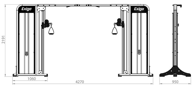 Selectorized Adjustable Cable Crossover Product Dimensions