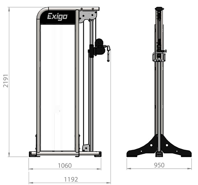 Selectorized Adjustable High Low Pulley Product Dimensions
