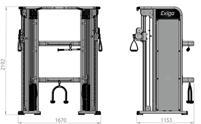 Selectorized Dual Adjustable Pulley Product Dimensions