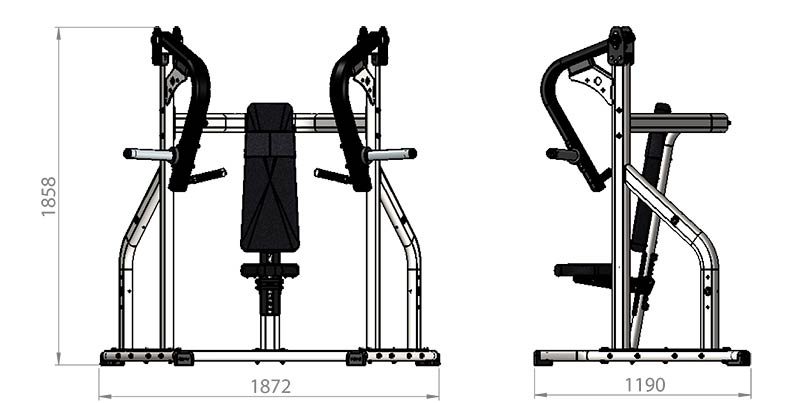 Plate Loaded Chest Press Product Dimensions