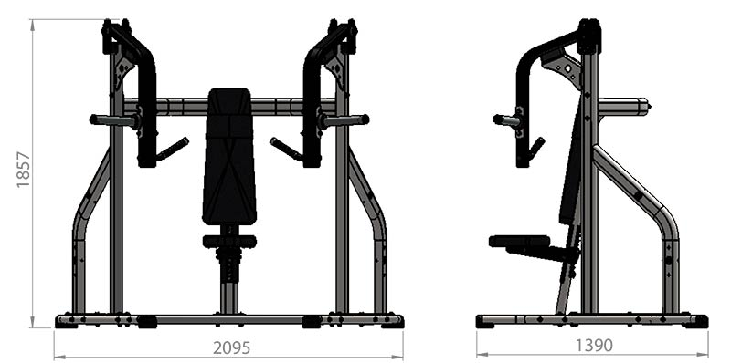 Plate Loaded Incline Chest Press Product Dimensions