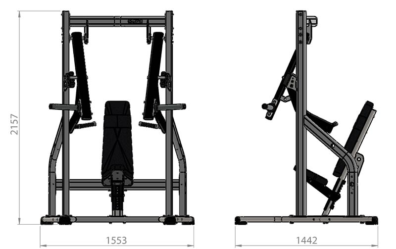 Plate Loaded Decline Chest Press Product Dimensions